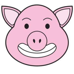 flash card pig baboy colored