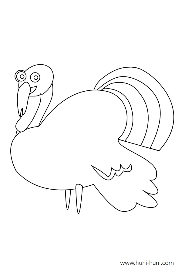 flashcard-coloring-page-outline-animal-turkey-pabo