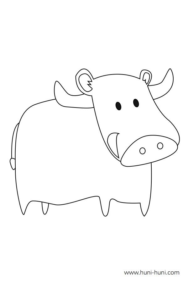 flashcard-coloring-page-outline-animal-water-buffalo-carabao-kabaw