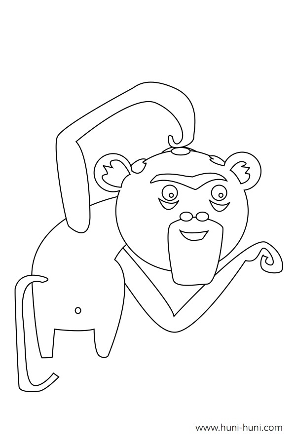 flashcard-coloring-page-outline-animals-monkey-unggoy