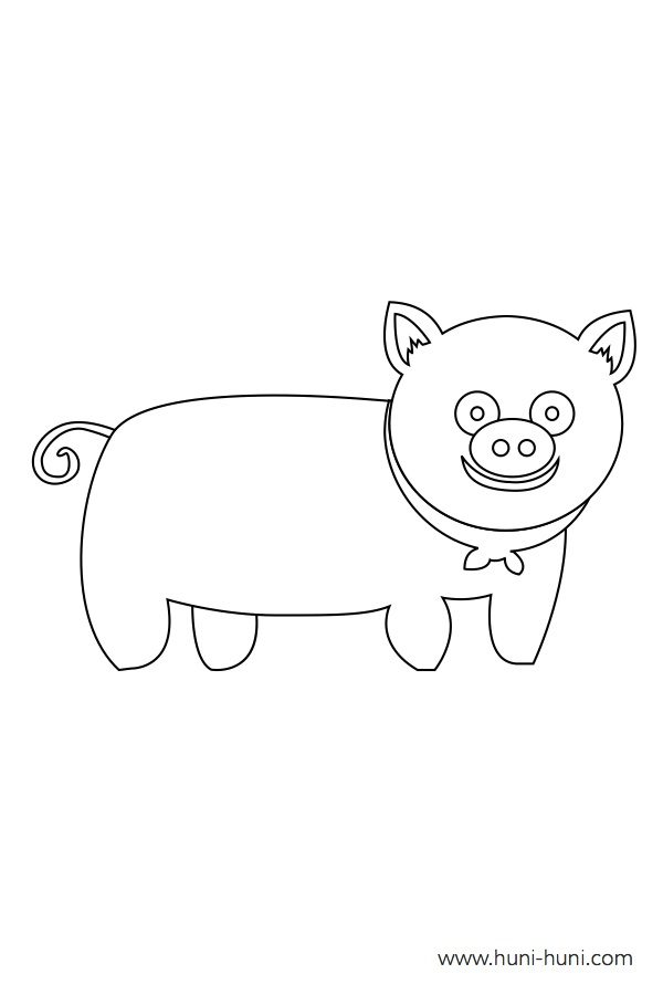 flashcard-coloring-page-outline-animals-pig-baboy