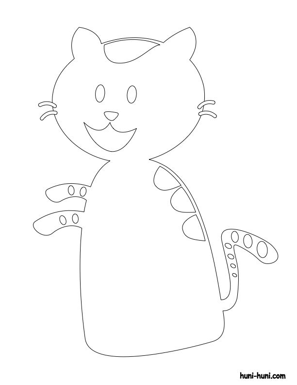 huni-huni-flashcard-coloring-page-outline-iring-cat-fingerpuppet