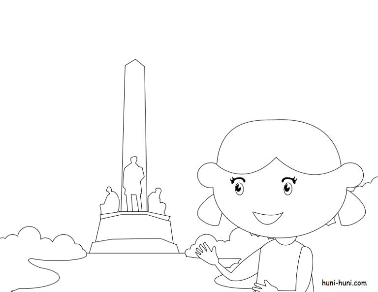 huni-huni-flashcard-coloring-page-outline-rizalpark-luneta-manila
